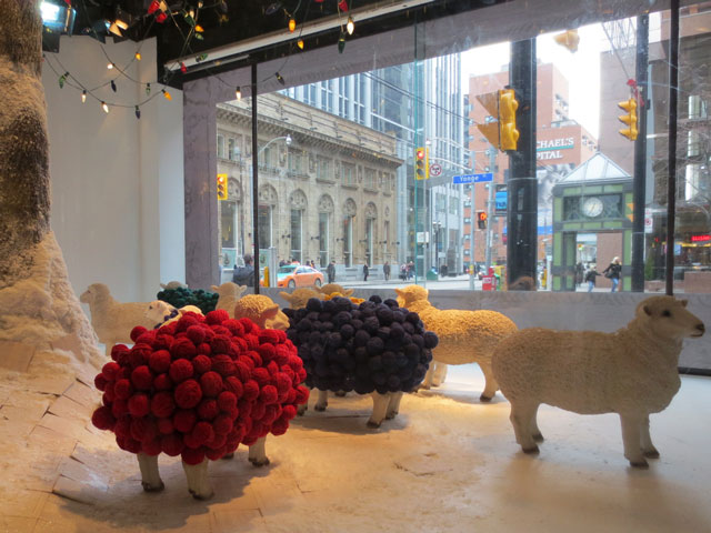 the bay window sheep balls of wool christmas 2014 downtown toronto