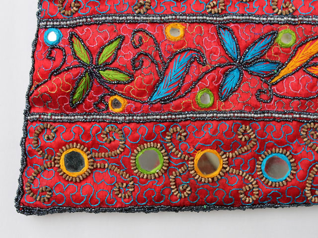 thrifted beaded and embroidered bag close up