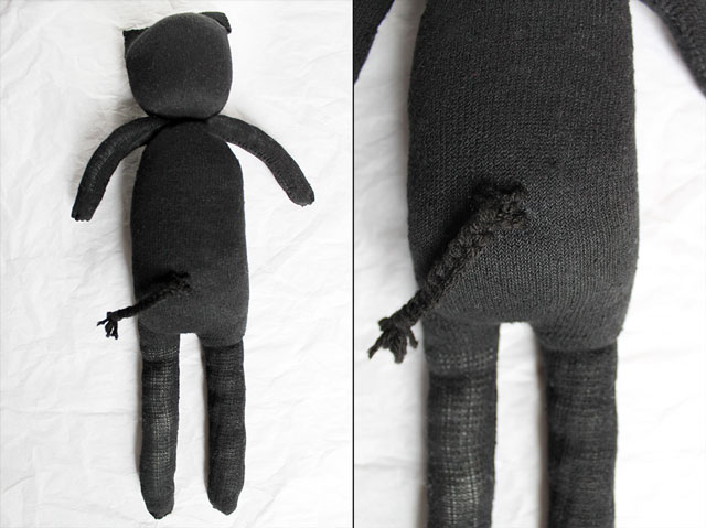 back of diy cat doll made from a pair of socks