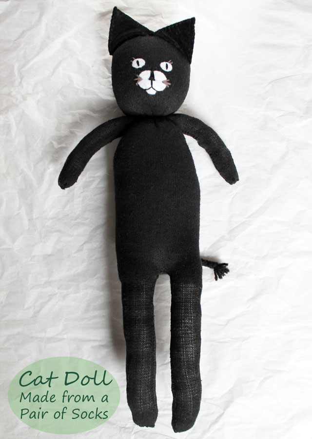 diy cat doll made from a pair of socks