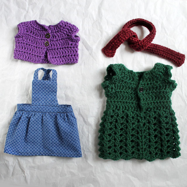 handmade doll clothes crochet and sewn