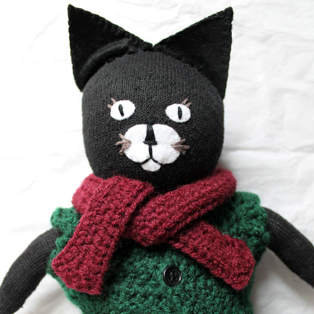 handmade stuffed cat made from socks