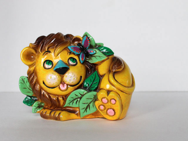 thrifted 1970s bank cute lion
