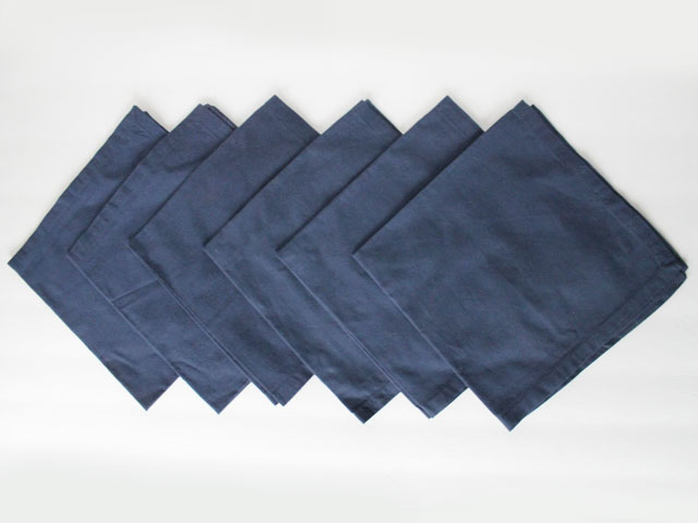 thrifted cotton napkins 6 navy blue