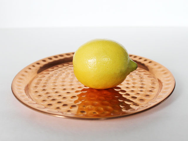 thrifted small copper tray trivet coaster