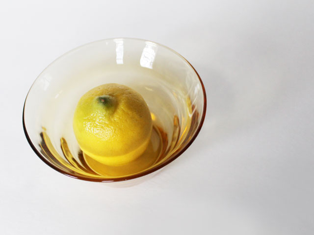 thrifted small glass bowl amber colour modern look 2