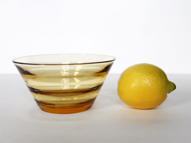 thrifted small glass bowl amber colour modern look