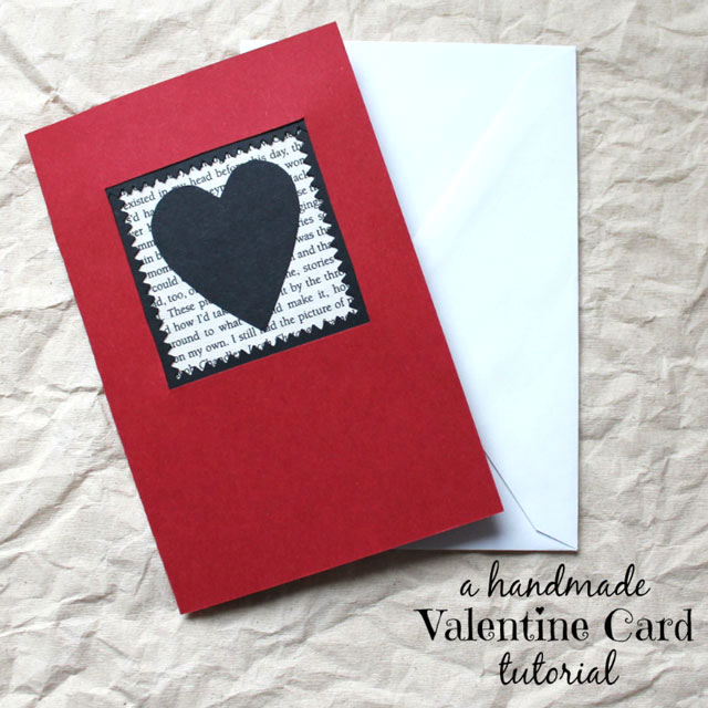 A Handmade Valentine Card Red Black and the Printed Word – Hand Made Valentine Cards