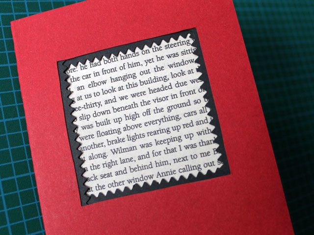 attach page from old book diy valentine card