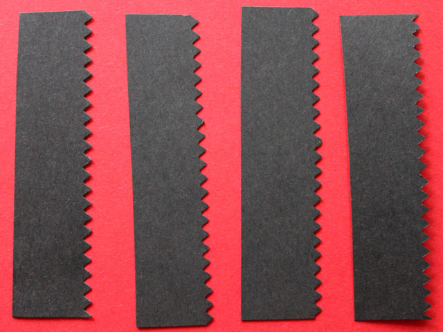 cut 4 pieces of frame colour and trim with fancy edge scissors valentine diy