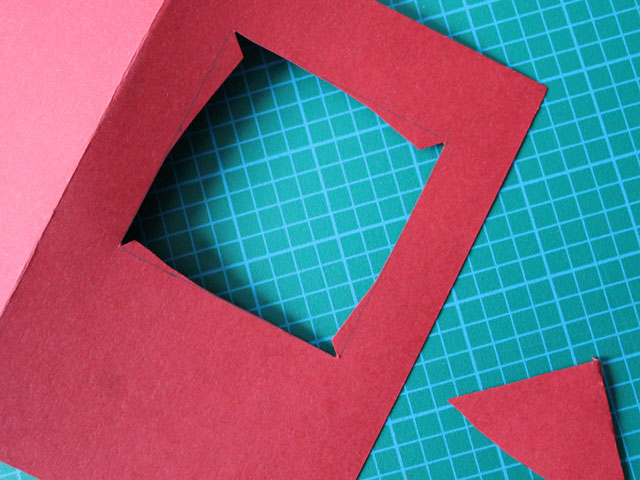 cut a square in the front of the card 2