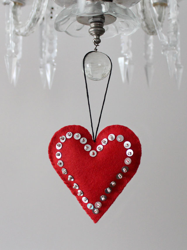 Felt Heart Sequins And Beads Handmade Valentine Decoration Puffy Heart  Ornament