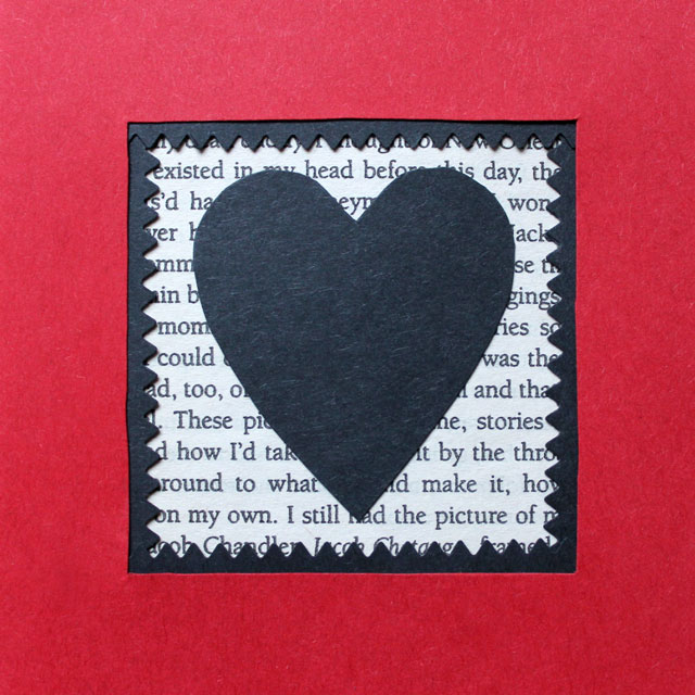 front of handmade valentine card