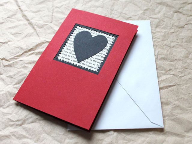 handmade valentine card diy red white and black