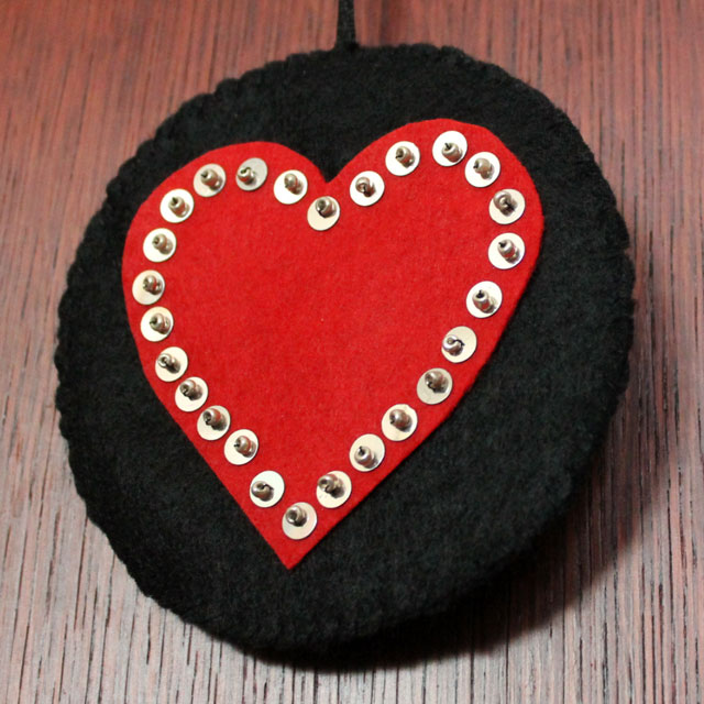handmade valentine decoration felt hearts with sequins and beads detail