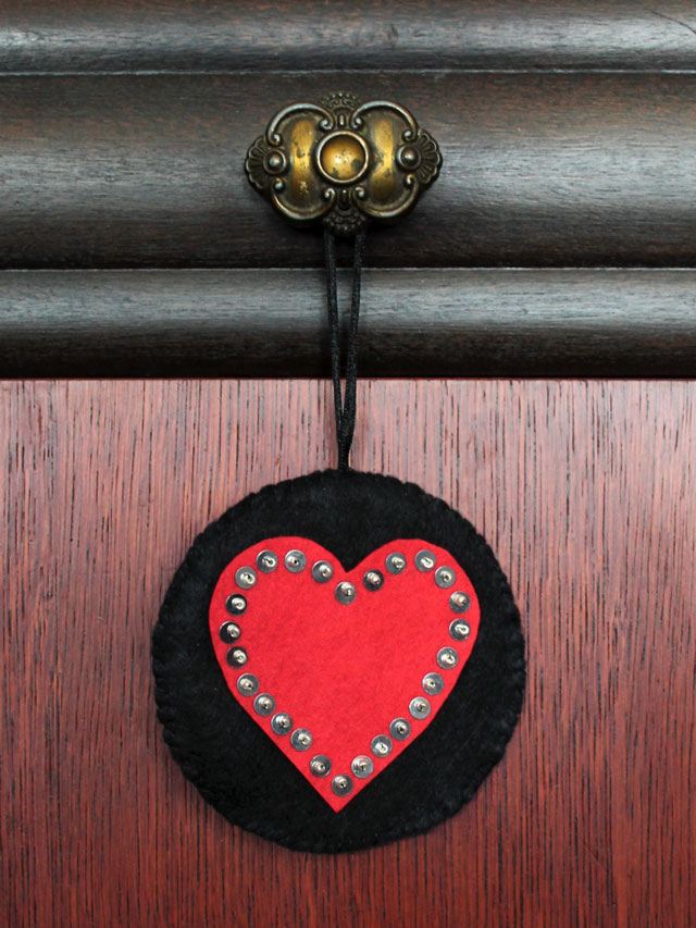 handmade valentine decoration hanging heart made from felt sequins and beads
