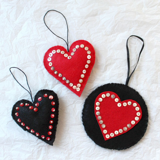 handmade valentine decorations felt sequins and beads hanging heart diy