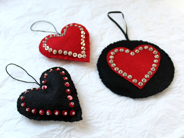 how to make felt hearts with sequins and beads for valentines day decoration