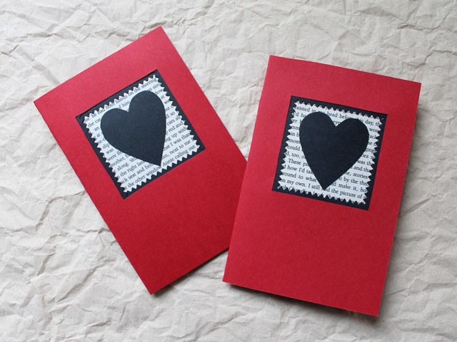 A Handmade Valentine Card Red Black and the Printed Word – Make a Valentine Card
