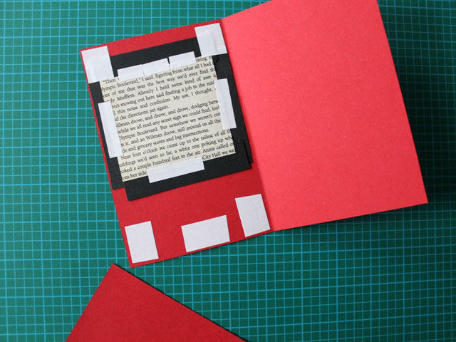 inside cover of handmade card before finishing