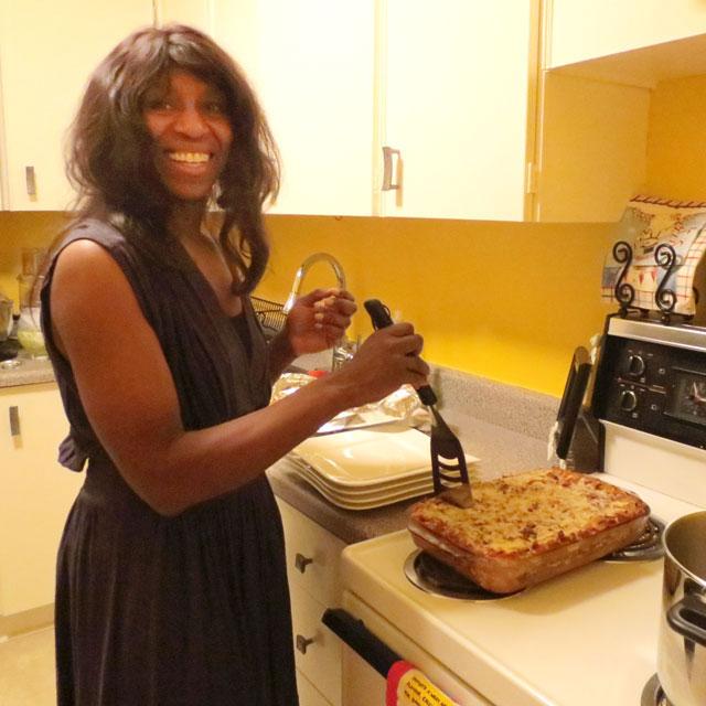 l serving lasagne