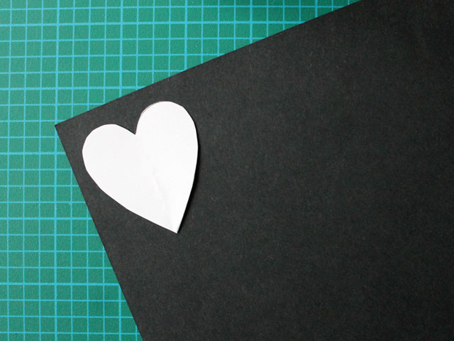 making a paper heart for a handmade valentine card