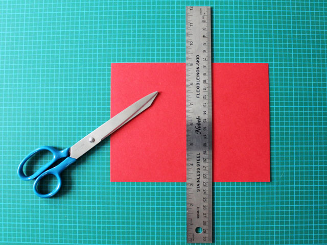 making the card base for a diy valentine card