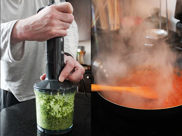 making two kinds of pizza sauce pesto and tomato