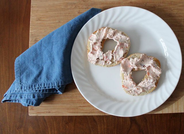montreal bagel with homemade smoked salmon and cream cheese spread