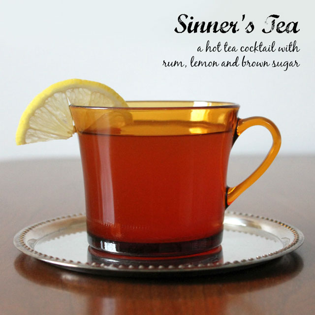 nicks sinners tea hot tea cocktail with rum lemon brown sugar orange and rooibos tea
