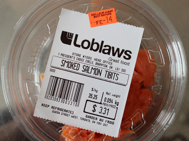 smoked salmon tidbits from loblaws good for making smoked salmon and cream cheese spread