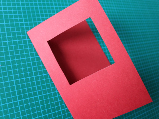 square cut into the front the the card valentine diy