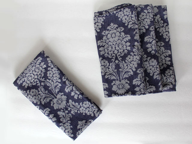 thrifted cotton demin jacquard napkins