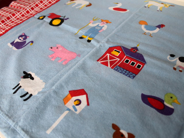 thrifted olive kids cotton pillow cases farm print cat02