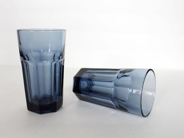 thrifted vintage libby dura tuff gibraltar dusky blue juice glasses