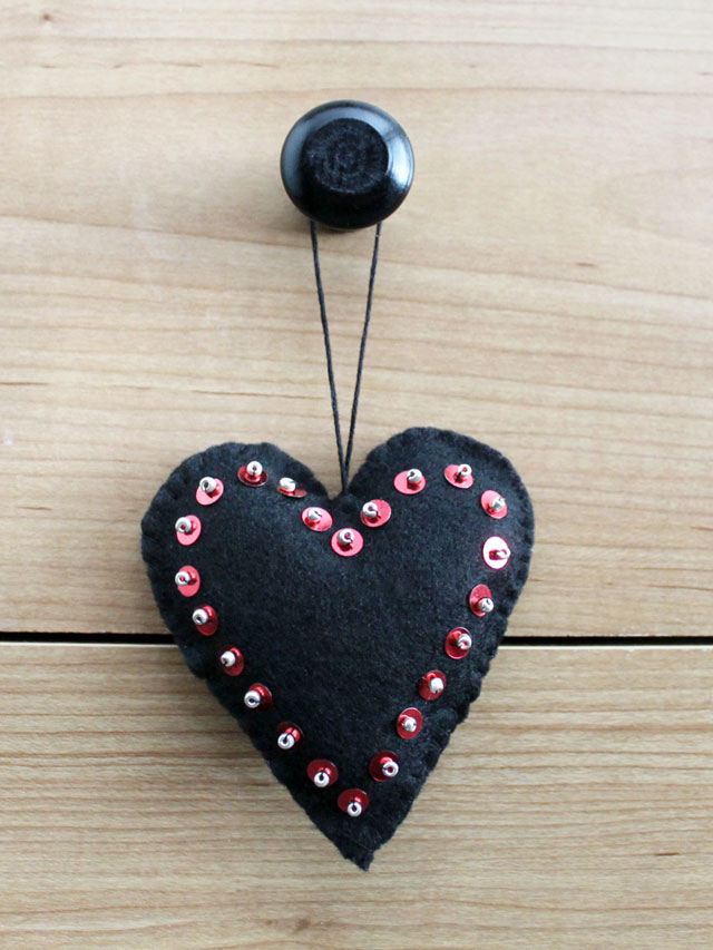 valentine decorations handmade hanging heart felt sequins and beads