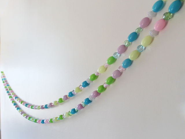 diy easter garland blowmold eggs and beads