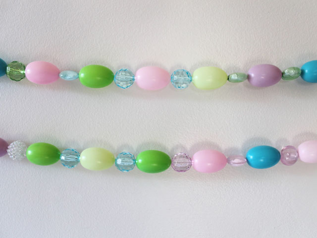 easter decoration handmade garland with beads and eggs