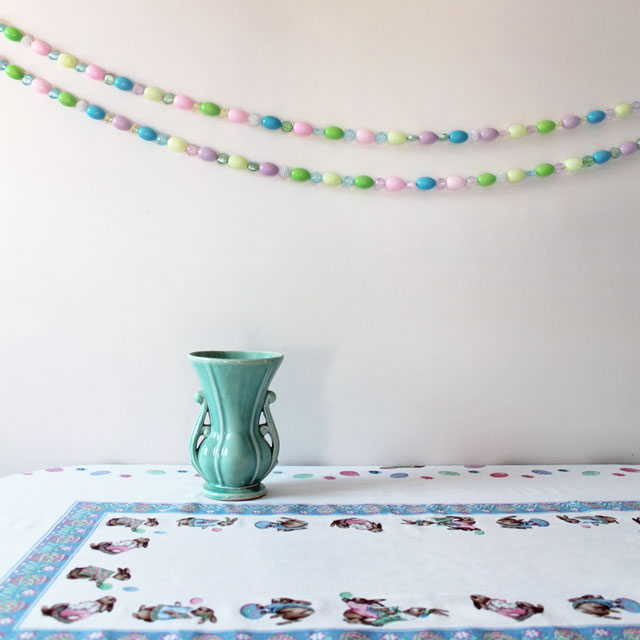 handmade easter garland using beads and blowmold eggs