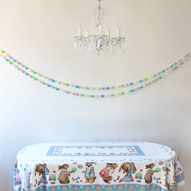 handmade easter garland with blowmold eggs and beads