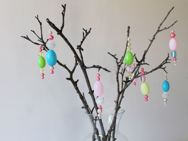handmade easter ornaments hanging decorations made with new and vintage beads and plastic eggs