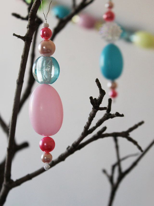 how to make easter decoration hanging ornaments with vintage beads new beads and blow mold eggs