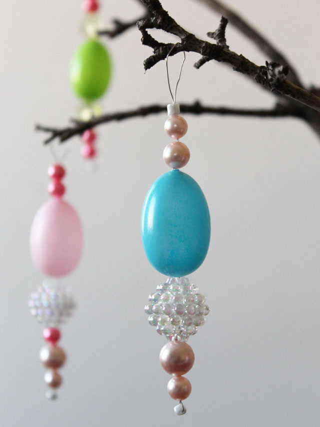 how to make hanging easter ornaments with new and vintage beads and blow mold eggs