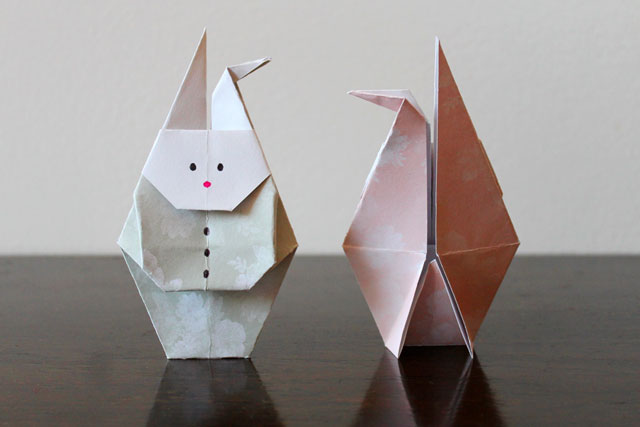 origami rabbit back view folded so it stands up