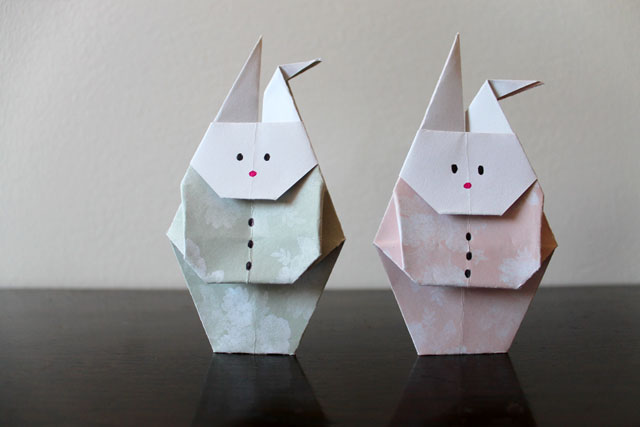 origami rabbit with clothes on
