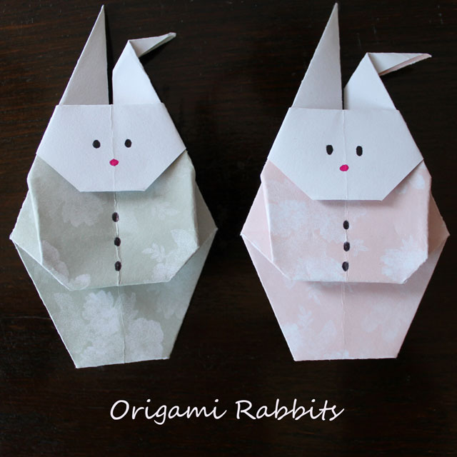 origami rabbits to mail for easter