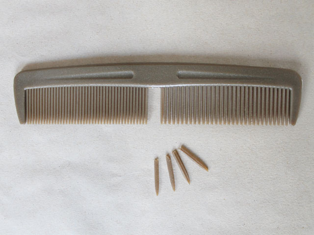 broken comb to make ribbon bows for gift wrapping