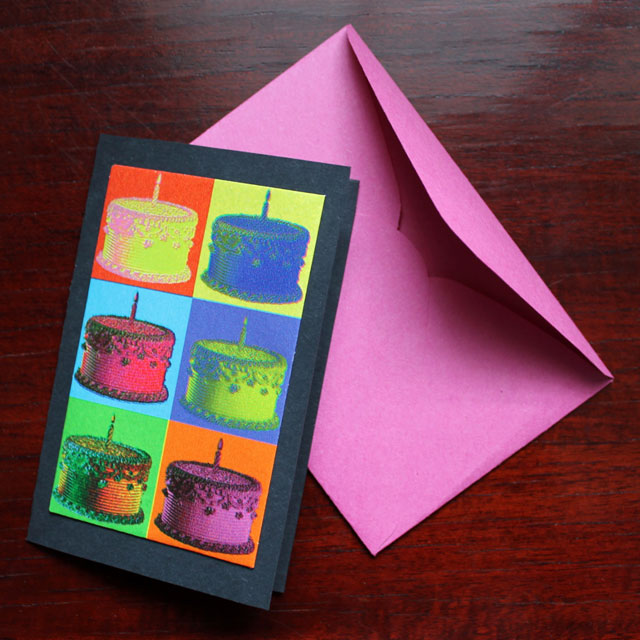 handmade birthday card made with gift wrapping