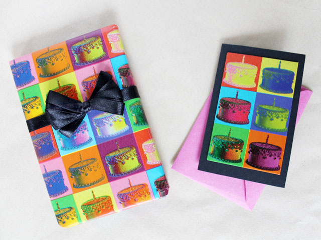 handmade gift card that matches with gift wrap