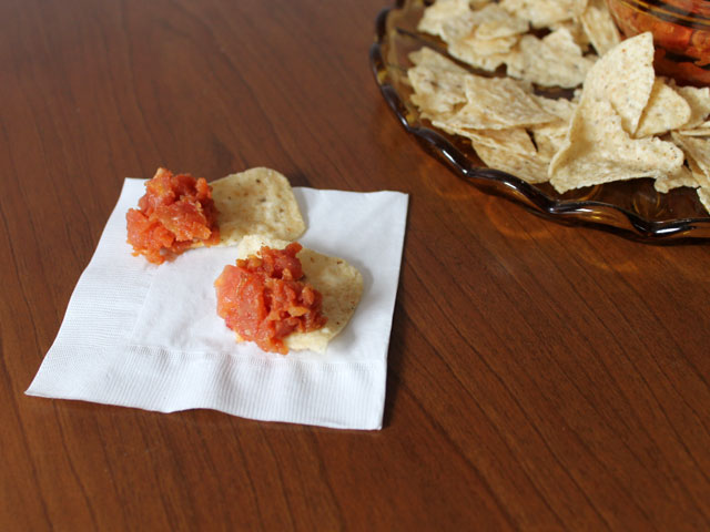 homemade salsa cooked and fresh combo for better dipping texture